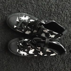 Black and white cat print high tops